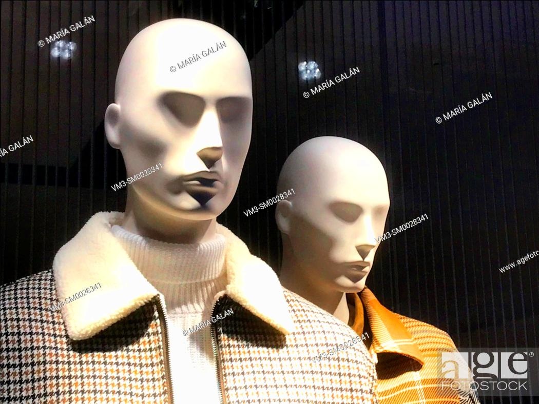 Stock Photo: Two mannequins in a shop window. Madrid, Spain.