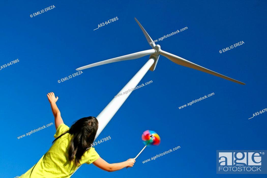 Stock Photo: Wind turbine. Serra del Tallat. Tarragona province, Spain.