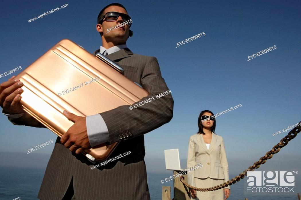 Stock Photo: View of two professionals standing.