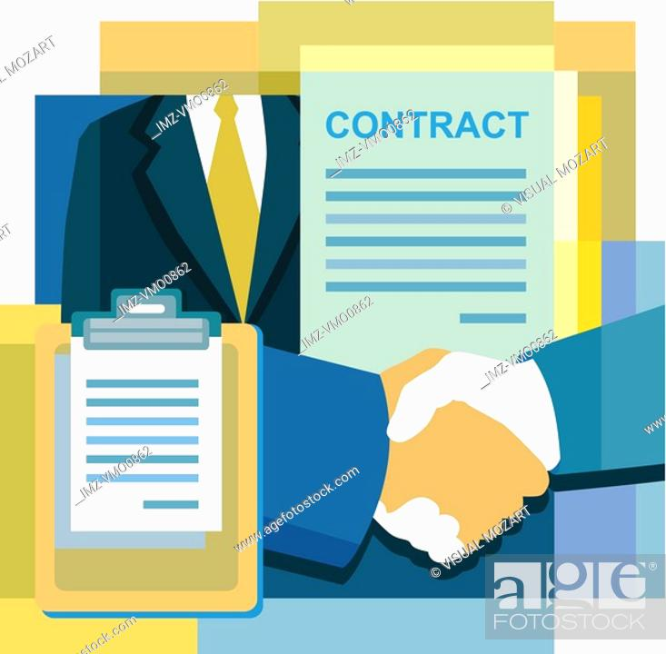 Stock Photo: A montage of a contract, handshake, suit, and documents.