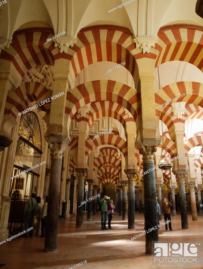 Stock Photo: Interior of Great Mosque, Cordoba, Andalucia, Spain.