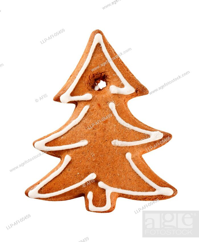 Stock Photo: Gingerbread cookie in the shape of a tree.