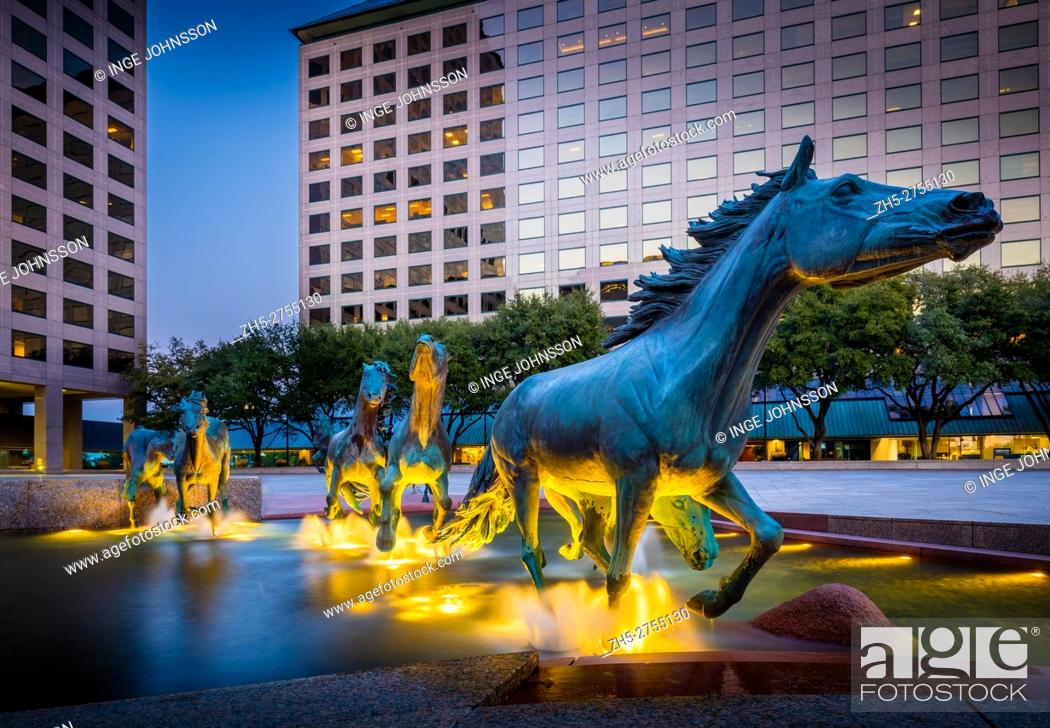 Stock Photo: Mustangs at Las Colinas is a bronze sculpture by Robert Glen, that decorates Williams Square in Las Colinas in Irving, Texas.