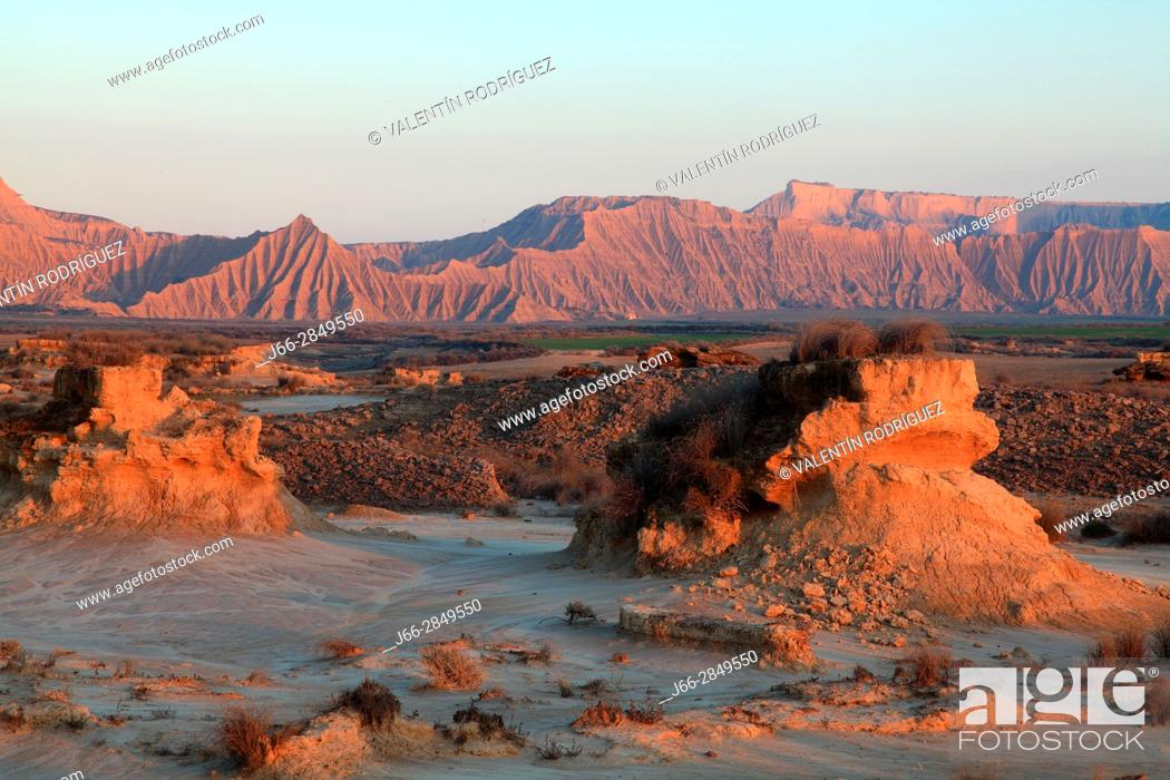 Stock Photo: Landscape in the area called La Blanca Baja. Natural park Bárdenas Reales. Navarra.