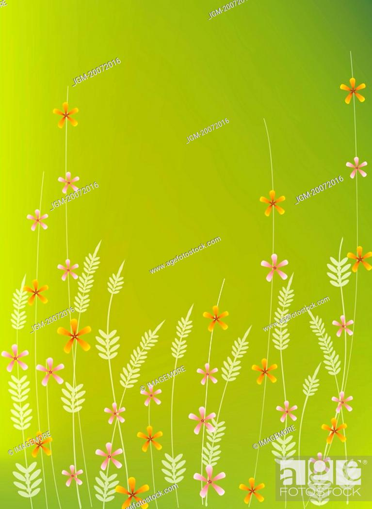 Stock Photo: Illustration and painting of floral pattern in green background.
