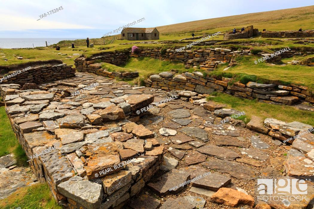Stock Photo: Birsay, Orkney Mainland, Scotland, UK, Great Britain, Europe  Remains of Norse sauna in a settlement excavated on the Brough of Birsay.