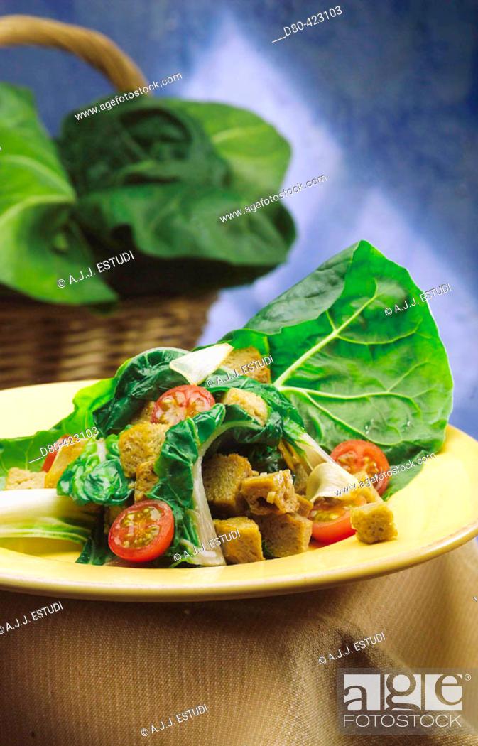 Stock Photo: Chards and seitan salad.