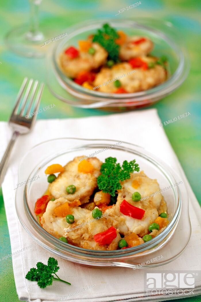 Stock Photo: Monkfish with vegetables and curry.
