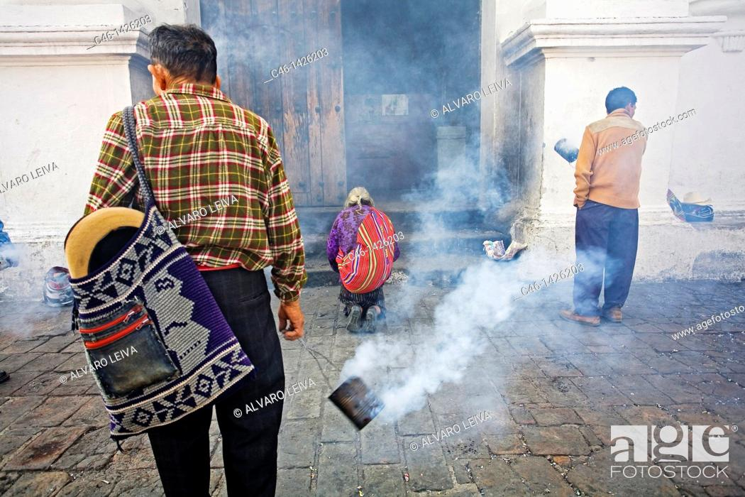 Stock Photo: Santo Tomás church where Quiché indians still practice catholicisme and ancient Mayan rites  City of Chichicastenango, mostly populated with Quiché indians.