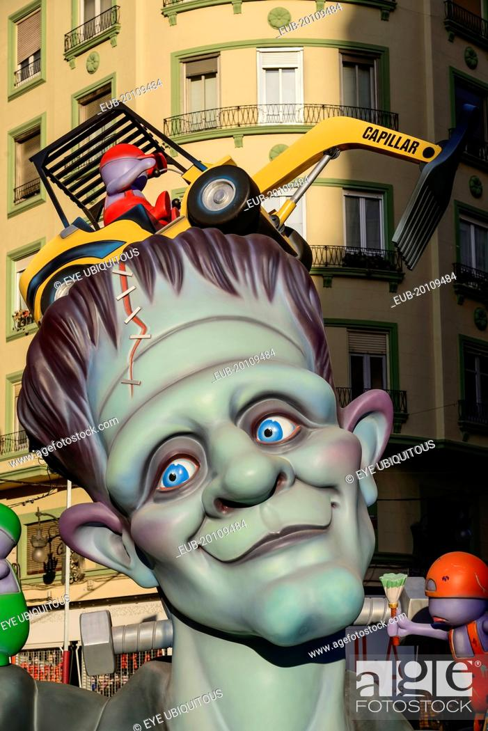 Stock Photo: Papier Mache figure in the street during Las Fallas festival, Detail of face.