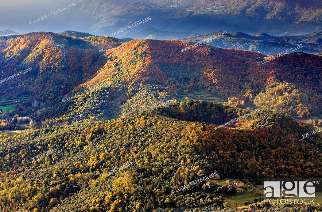 Stock Photo: On balloon over Santa Margarida Volcano, Garrotxa Natural Park, Girona province  Catalonia  Spain.