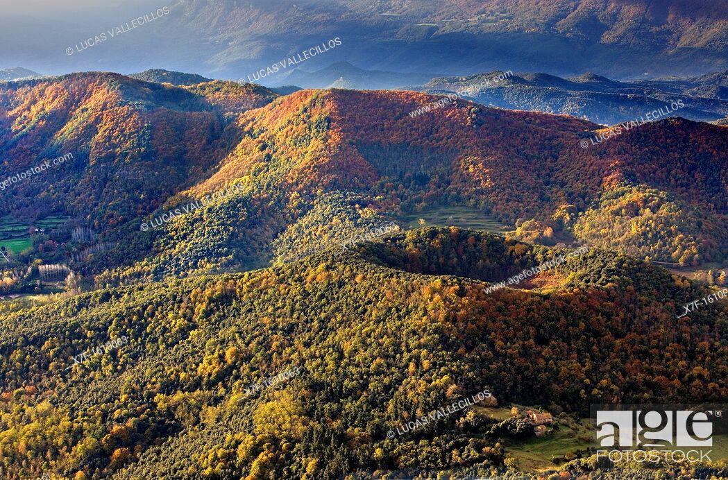 Stock Photo: On balloon over Santa Margarida Volcano,Garrotxa Natural Park,Girona province  Catalonia  Spain.