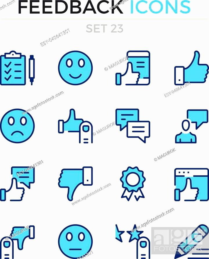 Stock Vector: Feedback icons. Vector line icons set. Premium quality. Simple thin line design. Modern outline symbols, pictograms.