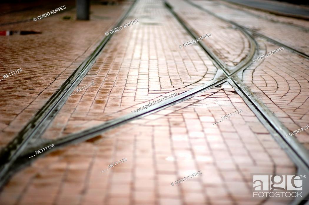 Stock Photo: Track for trolley cars in the streets of Rotterdam, Netherlands.