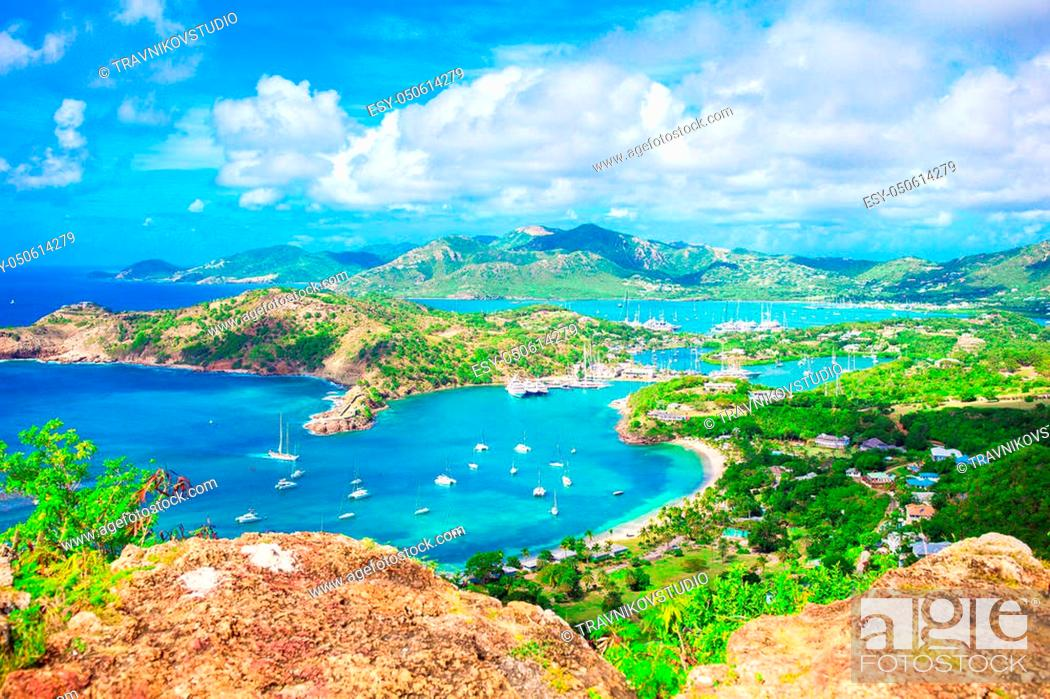 Stock Photo: View of English Harbor from Shirley Heights, Antigua.