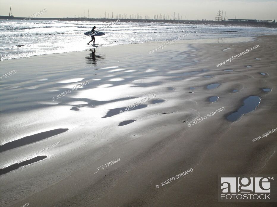 Stock Photo: Beach with surfer,.
