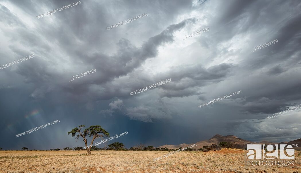 Stock Photo: Landscape view of dramatic thunderstorm conditions over a dry desert landscape. Namib Rand, Namibia.