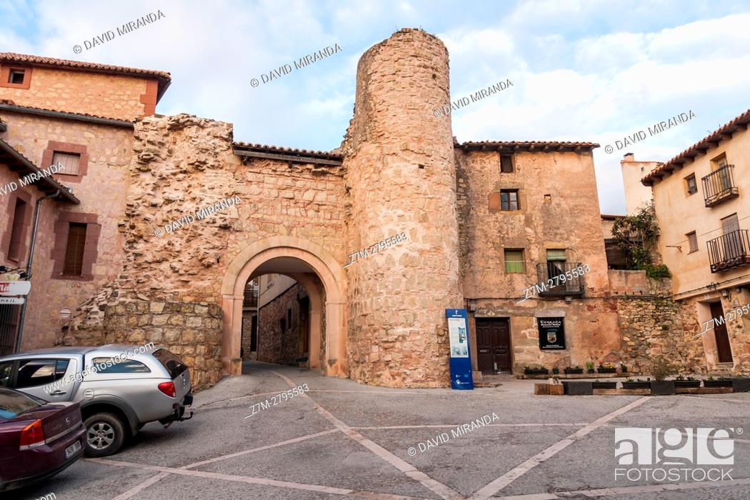 Stock Photo: Puerta del Hierro Gate, Sigüenza, Guadalajara province, Castile La Mancha, Spain. Historical Heritage Site.