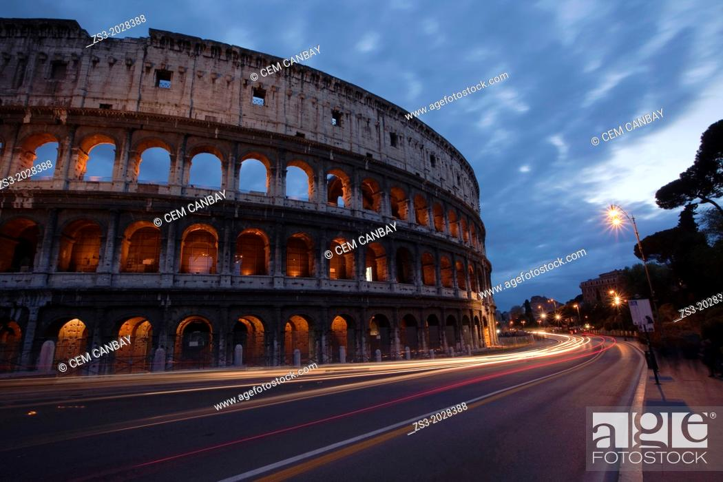 Stock Photo: The Roman Colosseum and car light-trails, Rome, Lazio, Italy.