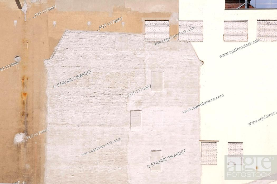 Stock Photo: Remaining outline of a building after it was torn down.