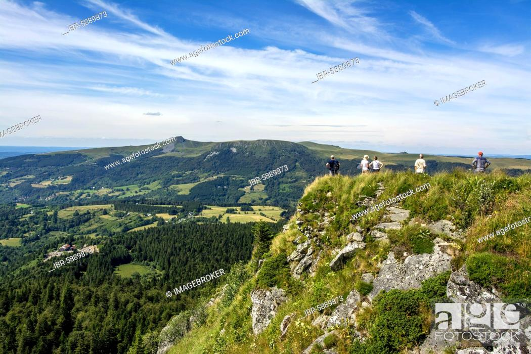 Stock Photo: Walkers in the Sancy massif at back, Auvergne Volcanoes Natural Park, Puy de Dome department, Auvergne-Rhone-Alpes, France, Europe.