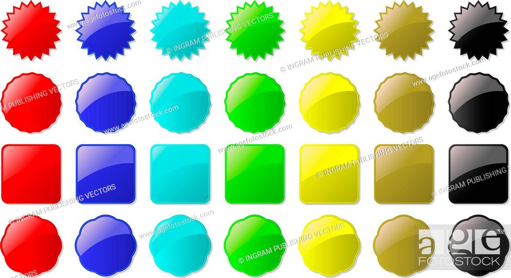 Vector: Illustration of seven colored buttons all part of a set ready for your own text.