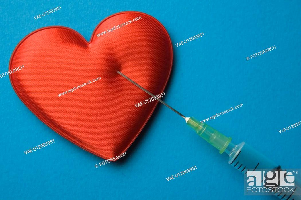 Stock Photo: Blue, Close-Up, Colored Background, Heart Shape.