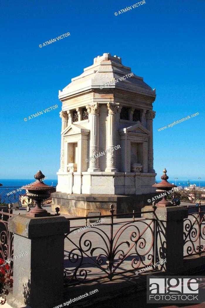 Stock Photo: Pantheon in Victoria Gardens (aka Gardens of the Marquesado de la Quinta Roja), La Orotava, Tenerife. Canary Islands, Spain.