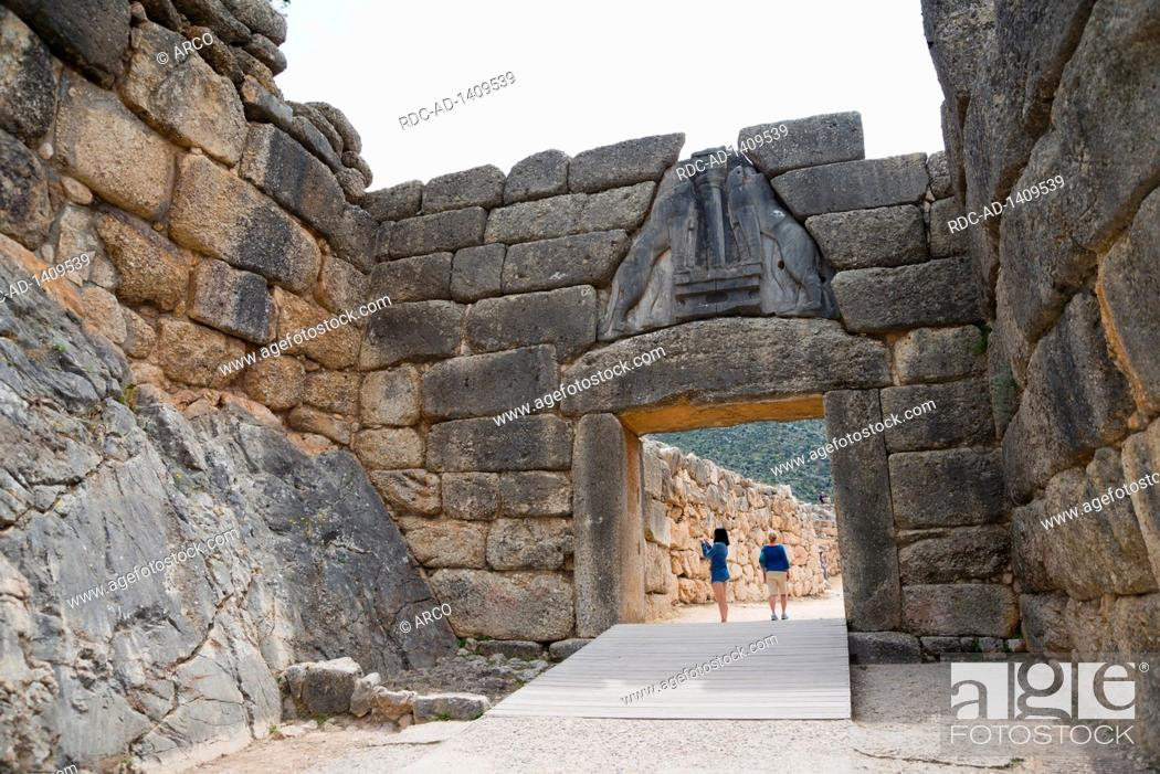 Stock Photo: Lion Gate, Mycenae, Argolis, Peloponnese, Greece.