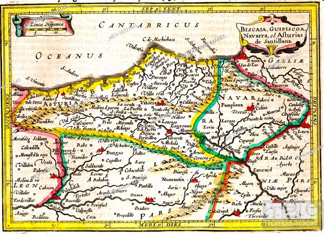17th Century Map Of North Eastern Spain Biscaia Guipiscoa Navarra