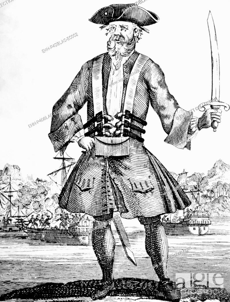 Stock Photo: Blackbeard, (aka Edward Teach), (aka Edward Thatch), English pirate, died 1718.