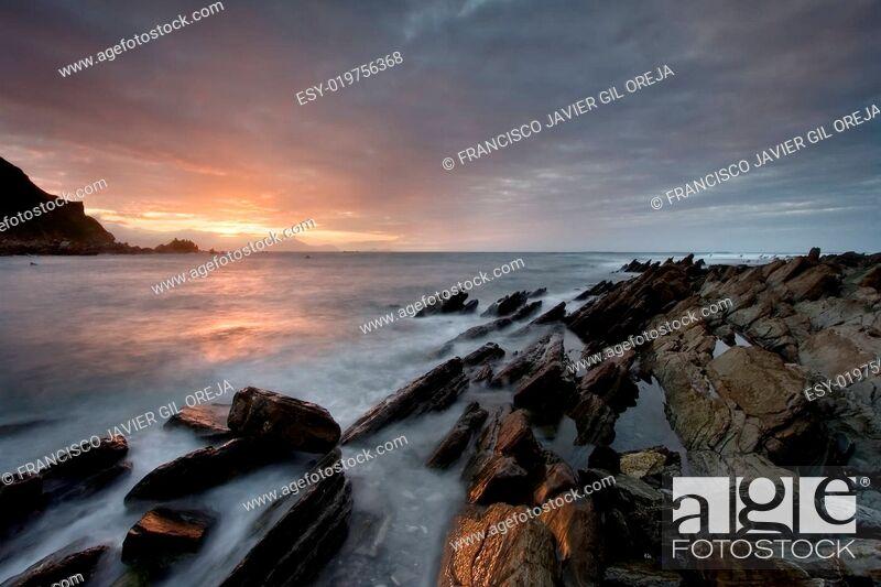 Stock Photo: Beach of Barrika, Bizkaia, Spain.