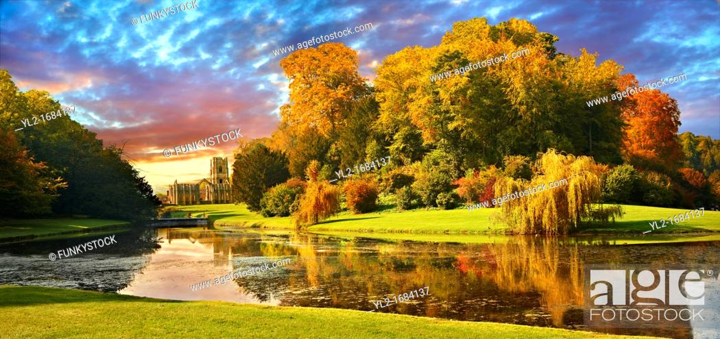 Stock Photo: Auntumn view of Fountains Abbey & Studley Royal water gardens, founded in 1132, is one of the largest and best preserved ruined Cistercian monasteries in.