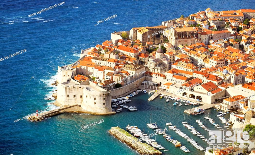 Stock Photo: Croatia - aerial view of Dubrovnik, Old Town harbor, Dalmatia, Croatia, UNESCO.