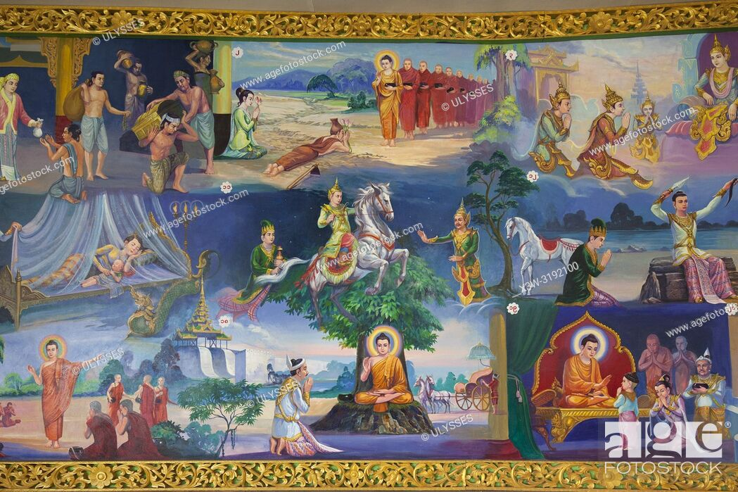 Photo de stock: Chaukhtatgyi Paya, paintings that narrate the life of the Buddha, Yangon, Myanmar, Asia.