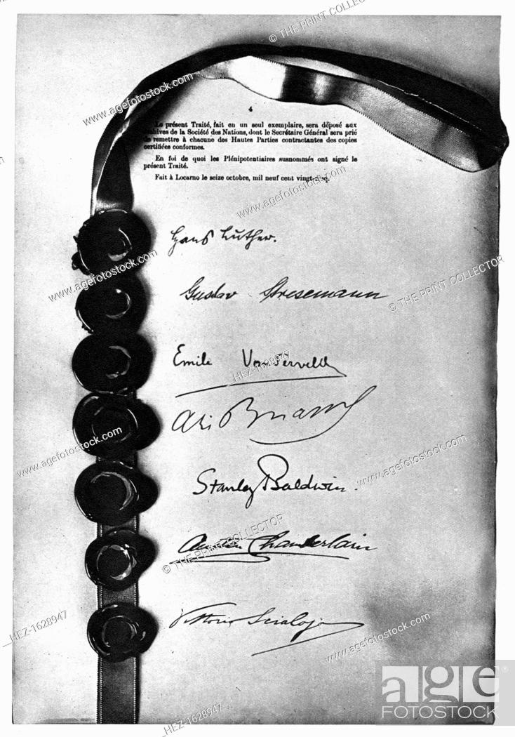 Sign Locarno Treaty Stock Photos And Images Age Fotostock