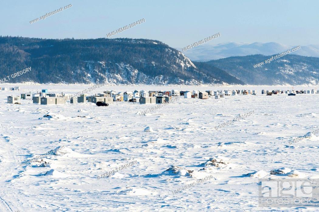 Stock Photo: Canada, Quebec, Saguenay, La Baie, white fishing village of Anse a Benjamin.