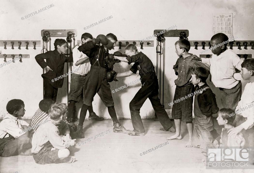 Stock Photo: The 'Manly art of self-defense' Newsboys' Protective Association. 1908.