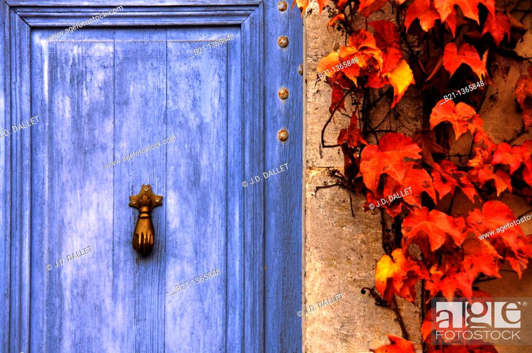 Stock Photo: Door at Lannepax, Gers, Midi-Pyrenees, France.