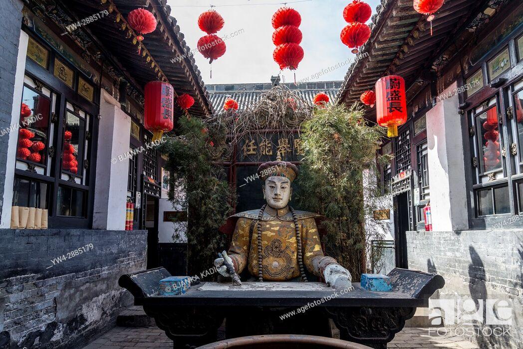Stock Photo: Inner courtyard of Wei Sheng Chang Museum, Pingyao, China-.