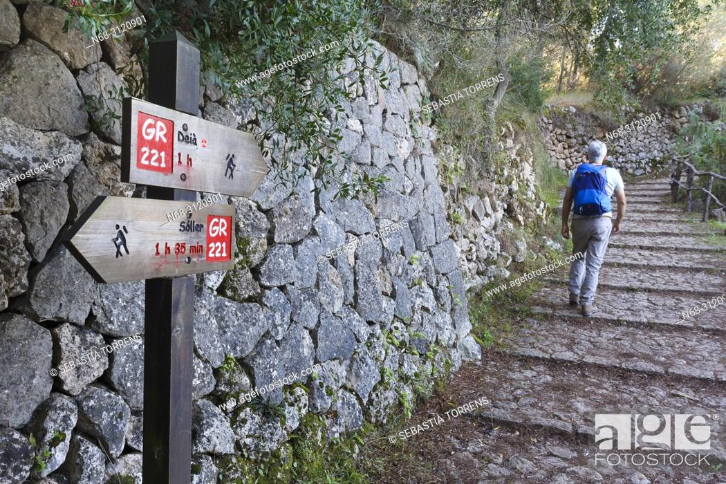 Stock Photo: Hiking signaling and hiker on the GR221 route, between Deia and Soller, Majorca, Balearic Islands, Spain.