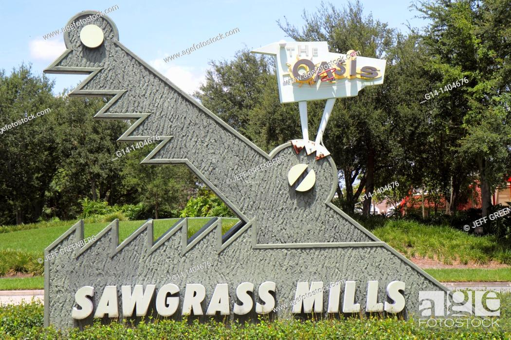 Stock Photo: Florida, Fort Ft  Lauderdale, Sunrise, Sawgrass Mills Mall, entrance, sign, alligator,.