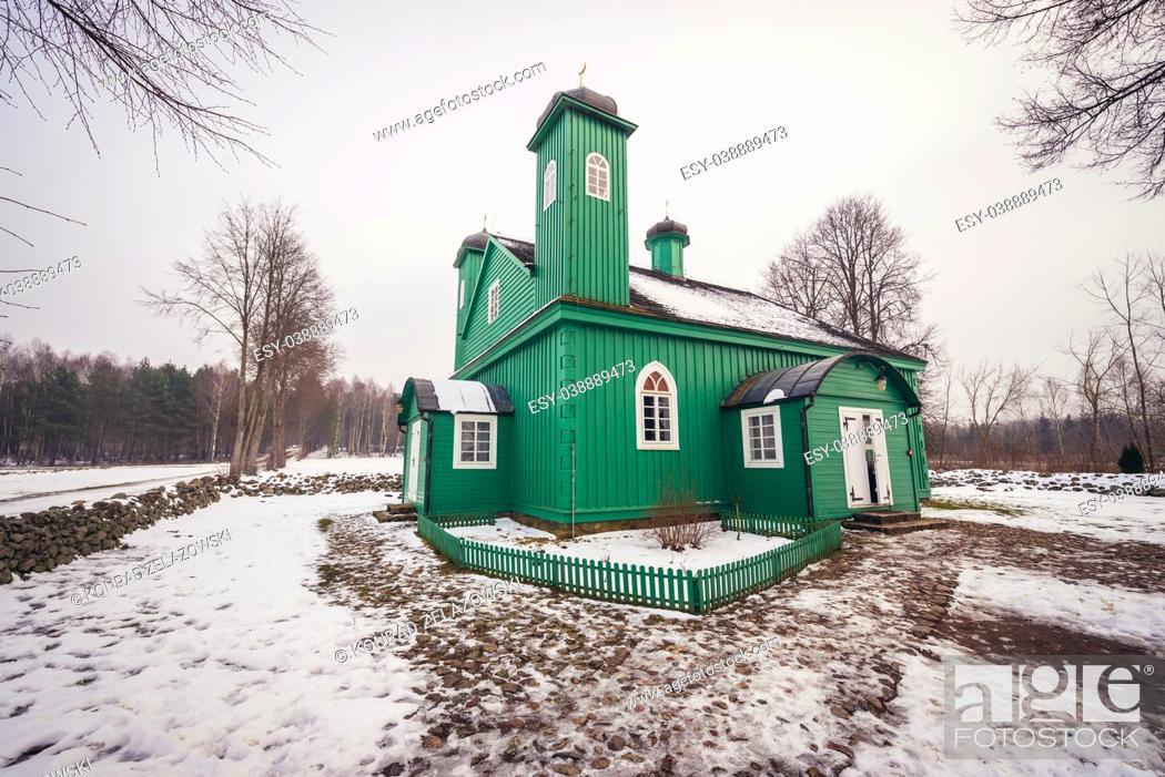 Stock Photo: Mosque in Kruszyniany village, former Polish Tatars settlement within Sokolka County, Podlaskie Voivodeship of Poland.