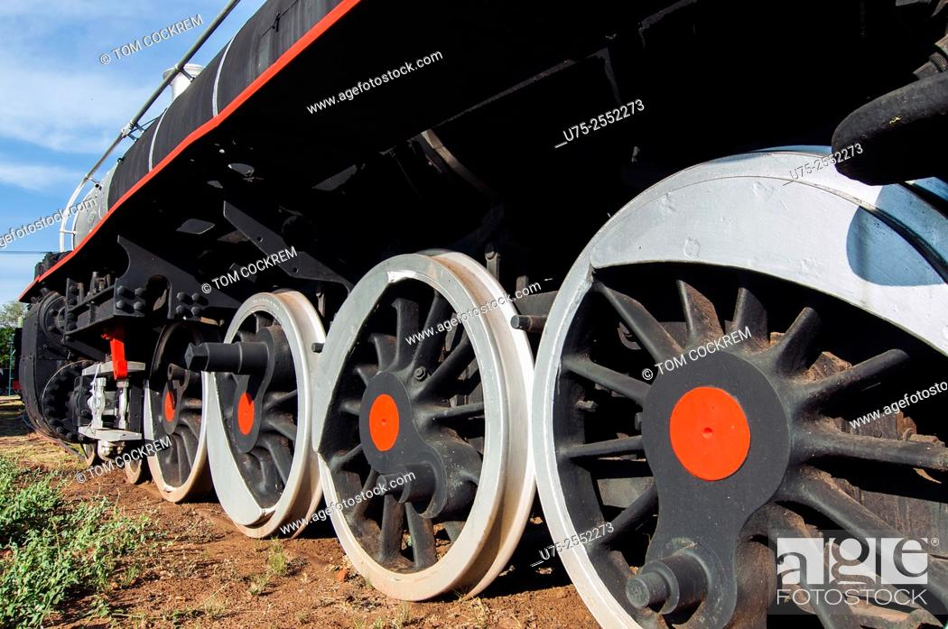 Stock Photo: Steam train wheels, Railway Museum, Livingstone, Zambia.