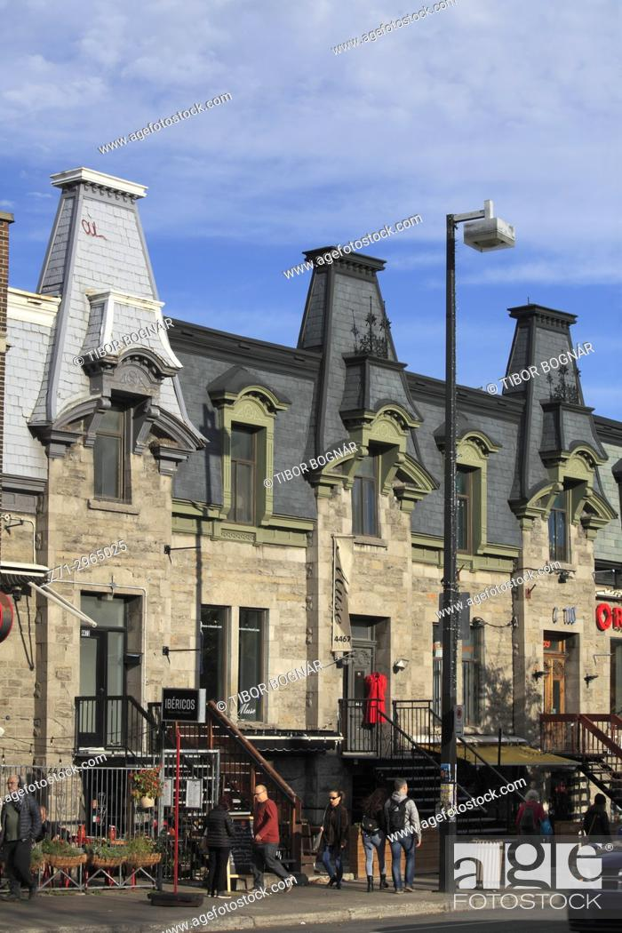 Stock Photo: Canada, Quebec, Montreal, St-Denis street, historic architecture, people,.