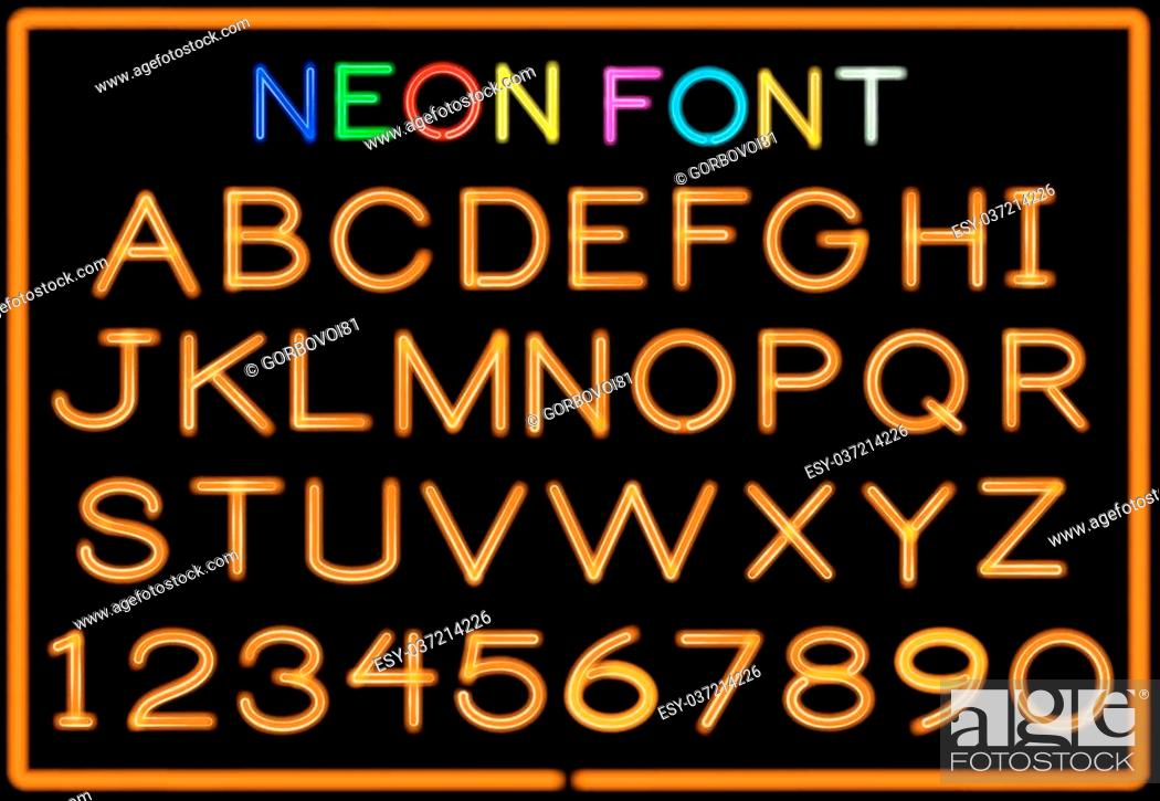 Stock Vector: Set of neon letters and numbers. Vector.