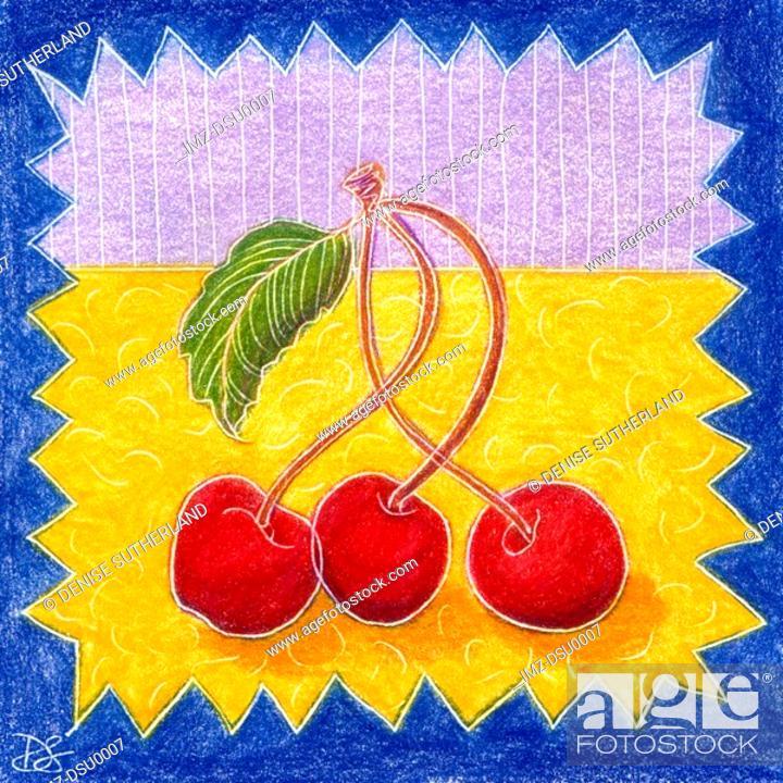 Stock Photo: three cherries.