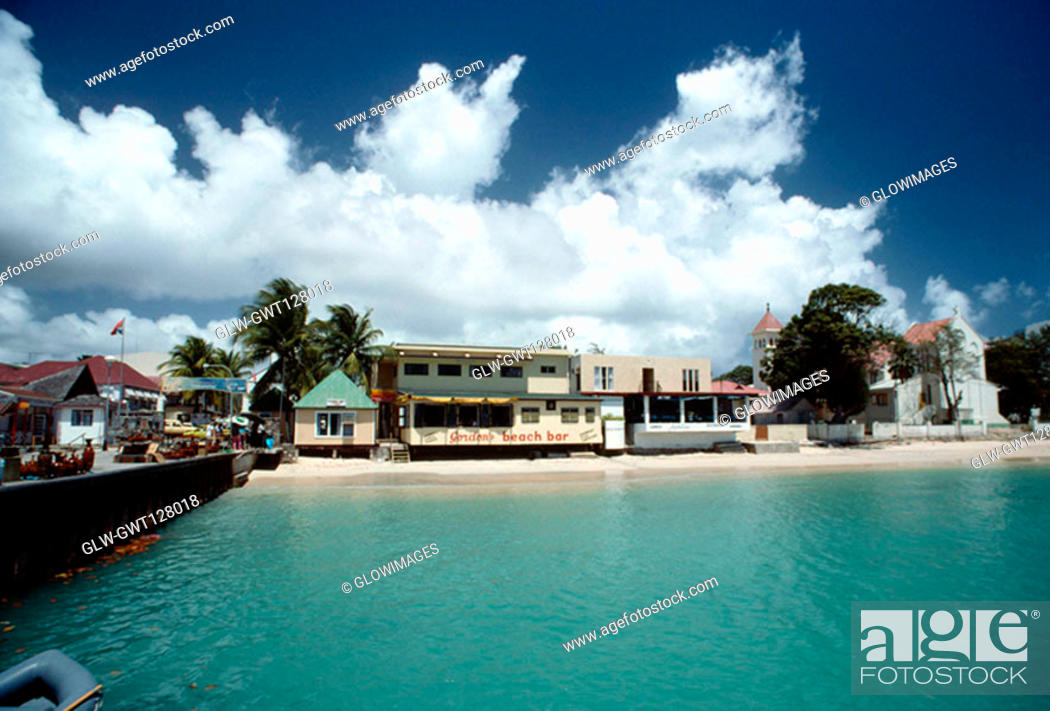 Stock Photo: View of a commercial hub along a beach, St. Martin.