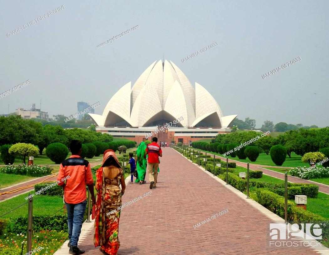 Stock Photo: Exterior view of the Lotus Temple, a Baha'i House of Worship, in New Delhi, designed by Fariborz Sahba (1948-) an Iranian-American Baha'i architect.