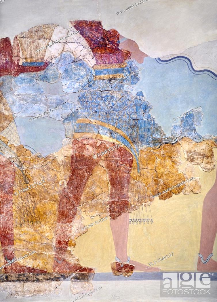 Photo de stock: The Minoan 'Procession Fresco' close up , wall art from the South Prpylaeum, Knossos Palace, 1500-1400 BC . Heraklion Archaeological Museum. .